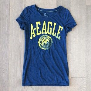American Eagle Blue & Lime Graphic Tee